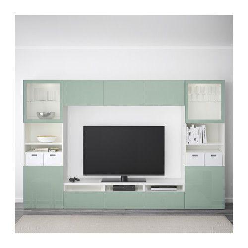 BESTÅ Kombinacja na TV/szklane drzwi - biały Selsviken/wysoki połysk/jasnoszary-zielony szkło bezbarwne, prowadnica, samodomykająca się - IKEA