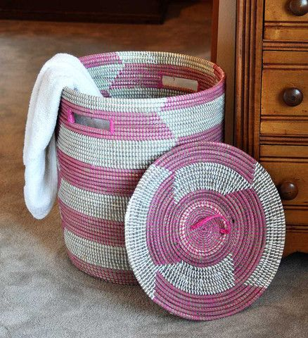Pink African Laundry Basket with Lid