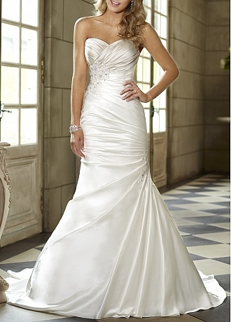 Striking Satin Mermaid Sweetheart Neckline Drop Waist Ruched Wedding Dress With Beaded Lace Appliques