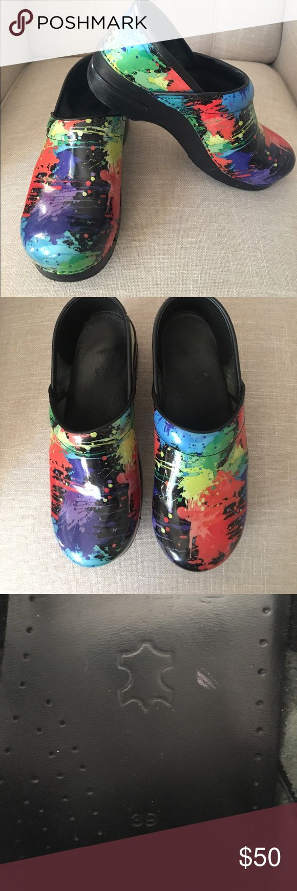 Multicolor paint splatter Danskos. Size 39 (8.5-9) Great (nearly new) condition. Perfect for nurses or anyone on their feet all day. Size 39 (8.5-9) Dansko Shoes Mules & Clogs