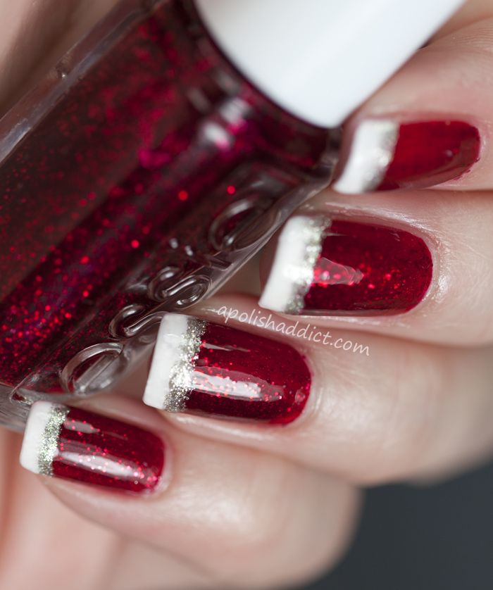 Santa hat tips - base red shade is Essie Leading Lady - white is OPI Alpine Snow (any fav white cream will work) - silver second line is made with Essie Beyond Cozy (a really soft golden/silver glitter in clear base)