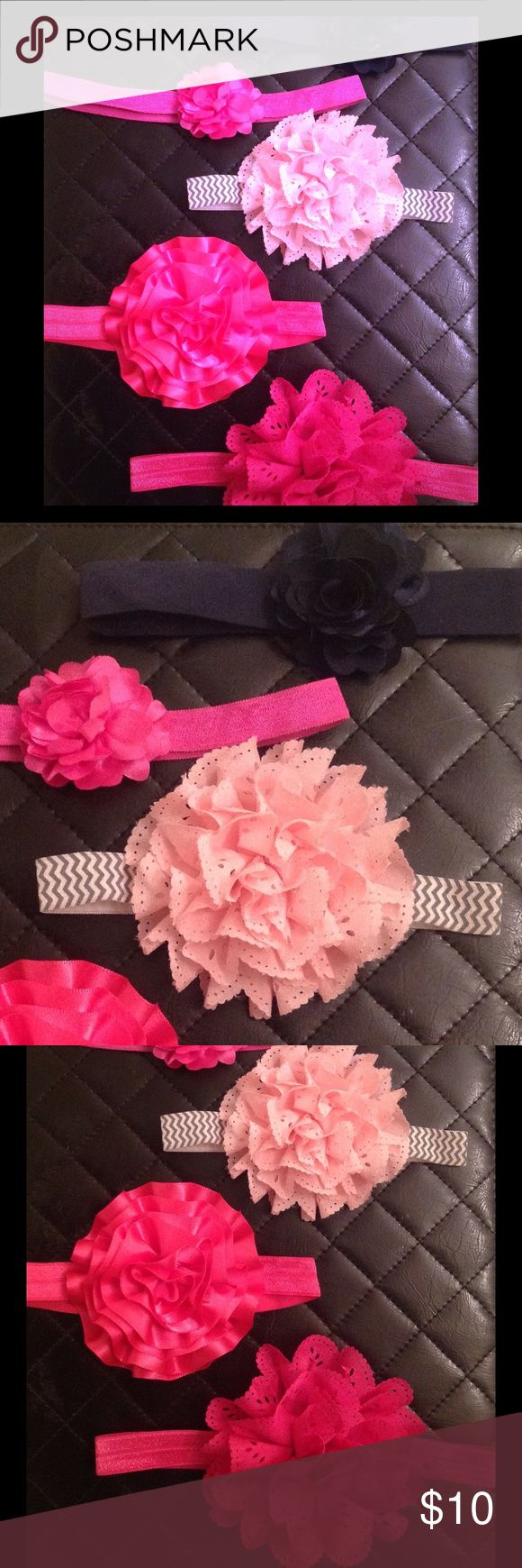 Rosette Baby Girl Headband Bundle Set of 5 rosette headbands. Excellent condition. Worn once. 2 small rosette headbands (navy and fuchsia) and 3 large rosette headbands (baby pink with grey and white chevron print band and 2 fuchsias) Accessories Hair Accessories