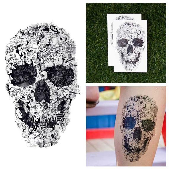 Hand Drawn Doodle Skull Collage Sketch Cartoon Body Art Temporary Tattoo Set Of 2 Cartoon Body How To Draw Hands Tattoo Set