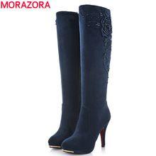 MORAZORA 2016 nieuwe mode hoge hakken suede lederen laarzen