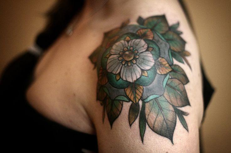 tattoos tattooed women shoulder tattoo geometric flower alice carrier portland tattoo artist women with tattoos shoulder cap wonderland tatt...