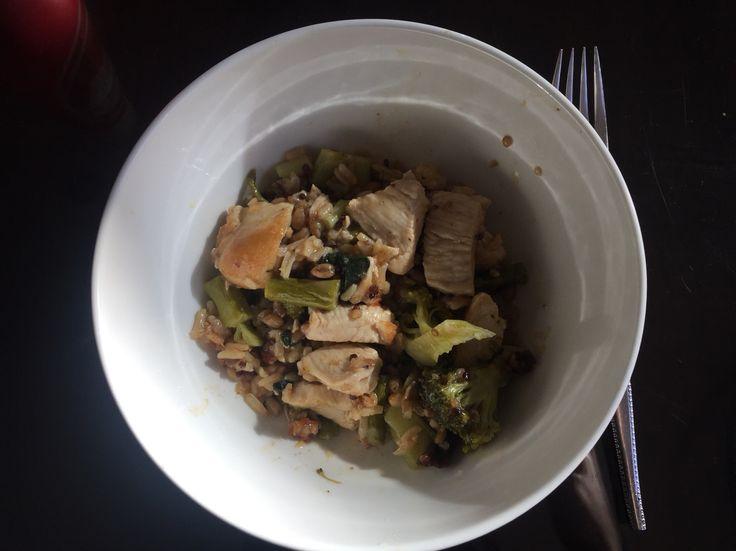 - Broccoli - Asparagus - Chicken - Quinoa - Brown Rice - Soy Sauce - Corn Starch - Garlic - Ginger - Lemon