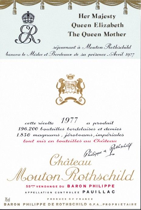 Etiquette Mouton Rothschild 1977 Hommage reine Elizabeth