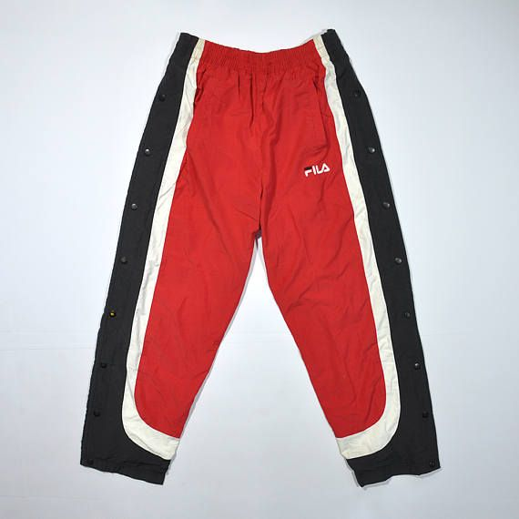Rare Vintage 90s FILA Trackpants Snapbotton side   FILA Track Pants   FILA  Sport Pants   Retro Fila Sweatpant   Streetwear Swag Old School 7342ed5e64bc