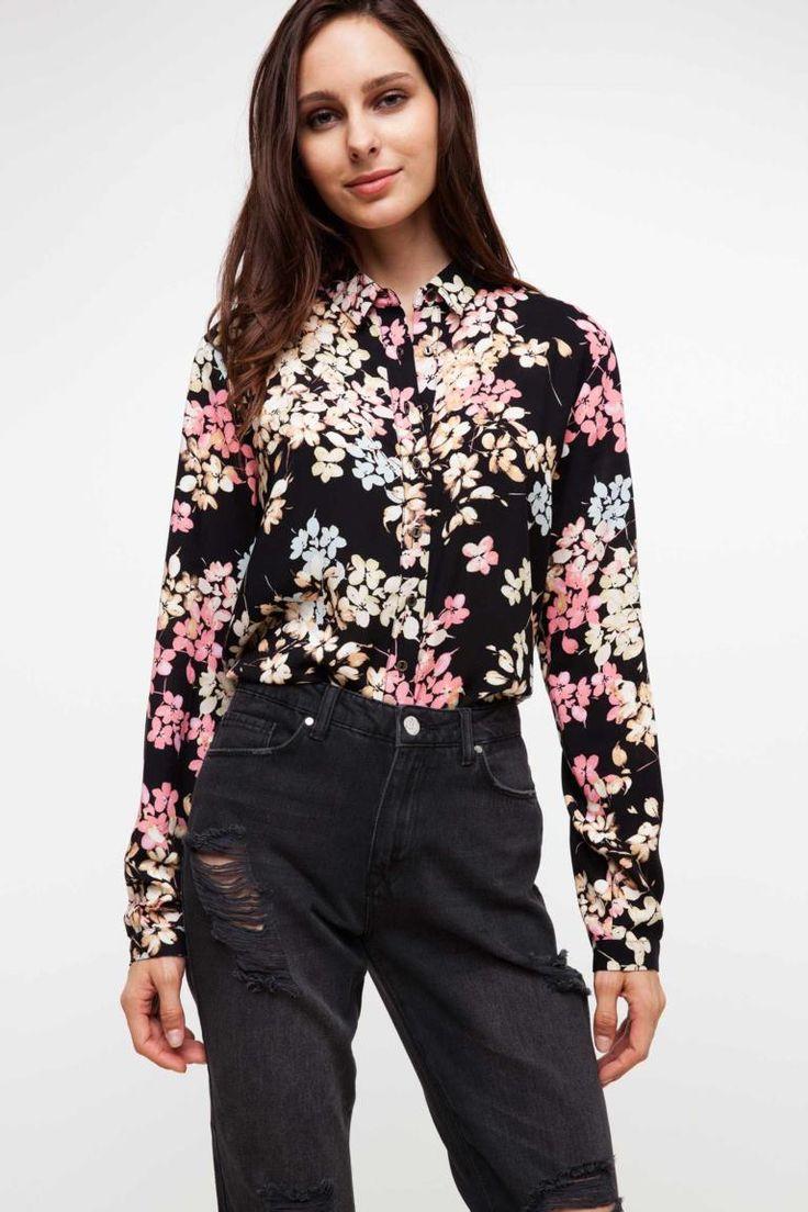 DeFacto Siyah Kadın Desenli Gömlek 1