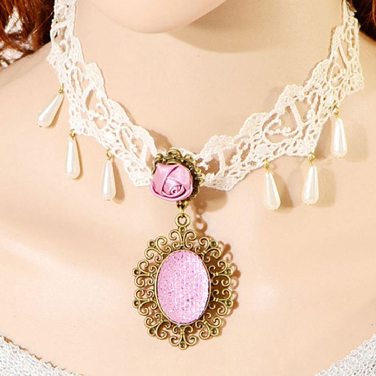 Shop Beora Pink Rose #Pendant #Lace #Fashion #Necklace @ Rs.549 By #Trendymela.We offer free shipping anywhere in #India. For more details visit us at #Trendymela.com