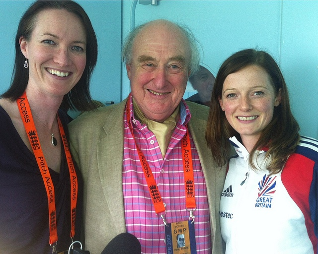 GB Hockey Player Helen Richardson with Alison Mitchell and Henry Blofeld