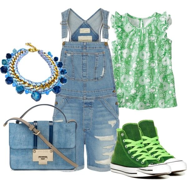 Overalls by andreabarria on Polyvore featuring Current/Elliott, Converse and Jimmy Choo