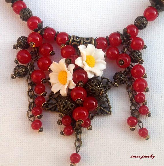 Red Jewelry Flower Jewelry Pendant Earrings Set by insoujewelry