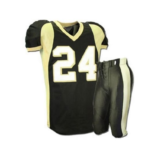 American Football Uniforms:- SKU: SSW-12703 Made of 100% Polyester. Double layer dazzle on the shoulder 250 GSM mesh body spandex side panel ,Pants in heavy wight spandex All colors are available. All sizes are available. email: info@saithsports.com Web: www.saithsports.com