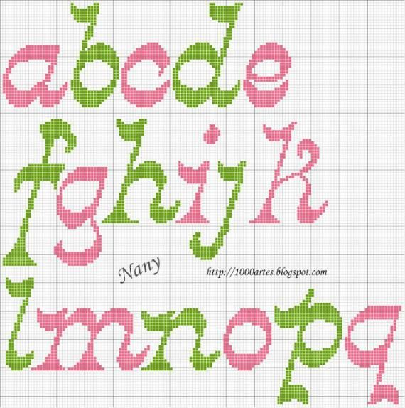 Gráfico Alfabeto - Ponto Cruz - VilaClub, charted alphabet for needlepoint or cross stitch