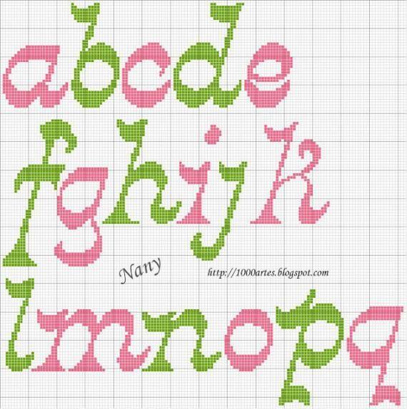 Gráfico Alfabeto - Ponto Cruz - VilaClub, charted alphabet for needlepoint or cross stitch