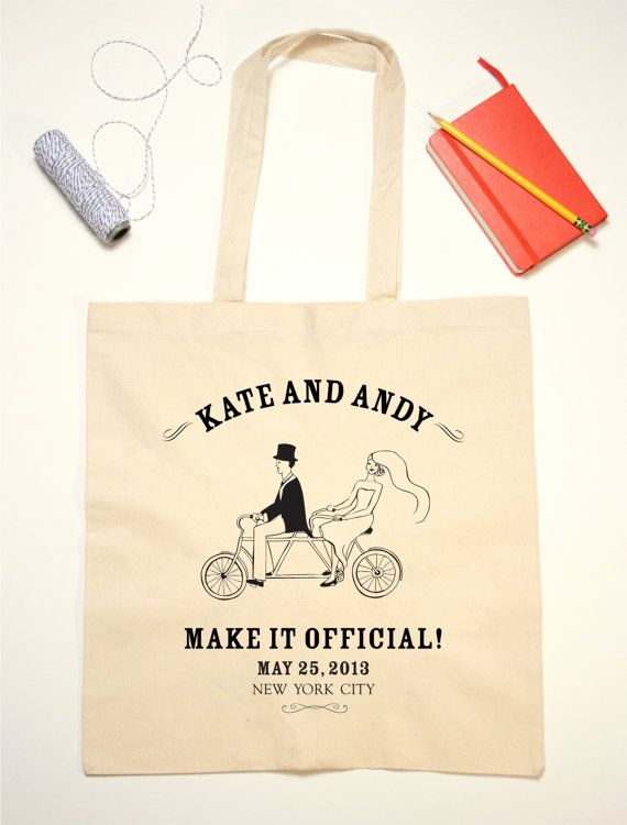 Tote Bag Wedding Favor Two Seat Vintage by jackandjillwedding, $10.00