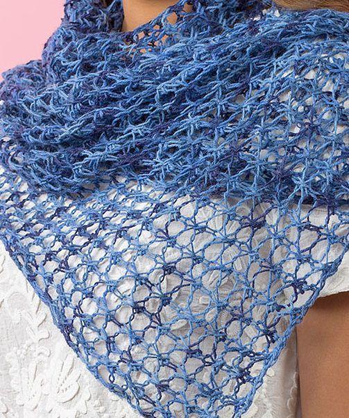 Free Knitting Pattern für 4 Row Repeat Lace Schal oder Schal – leicht durchbrochene