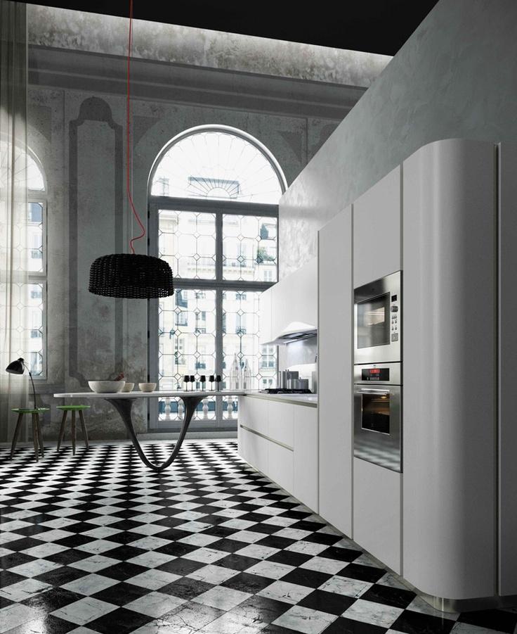Cocina en blanco y negro. Muebles contemporáneos y con algo de minimalismo.