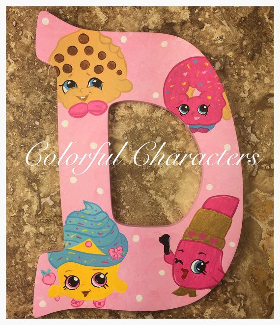 Shopkins painted wall letter, room decor, girls room decor, party theme, birthday gift, made to order