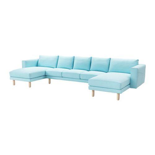 IKEA - NORSBORG, 3-sits sofa med 2 schäslonger, Edum ljusblå, björk, , Stor eller liten, färgstark eller neutral. Soffan finns i många former, stilar och storlekar så att du enkelt kan hitta den som passar dig och din familj bäst.En mjuk och skön soffa med stoppning av högelastiskt skum som ger bekvämt stöd till din kropp och snabbt återfår sin form när du reser dig.De lite högre armstöden gör det extra bekvämt att krypa upp i soffhörnet.Klädseln är lätt att hålla ren eftersom den är…