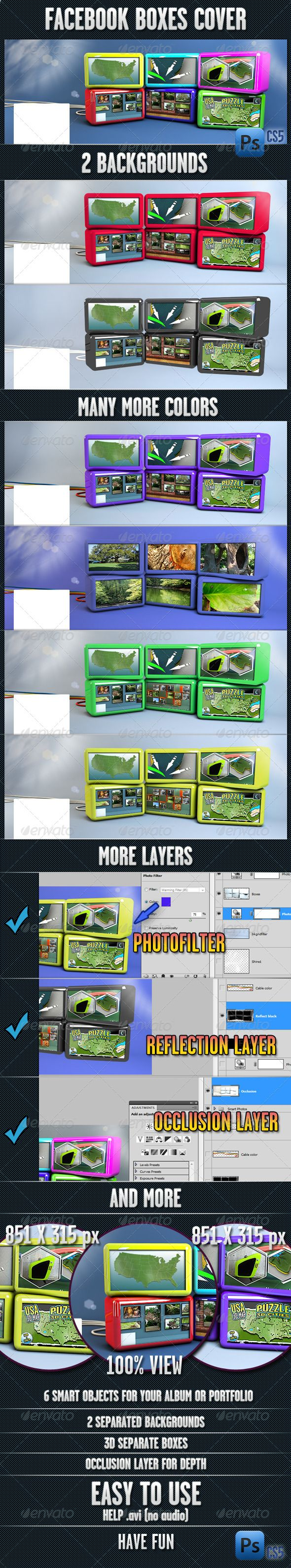 Facebook Box Cover   #GraphicRiver         Facebook boxes cover 2 backgrounds. Many more colors. More layers. 6 smart objects for your album or portfolio. 2 separated backgrounds. 3D separate boxes. Occlusion layer for depth. Easy to use. Help .avi (no audio).   .youtube /watch?v=69JpSMYM7LI&feature=share&list=PLT3YhTPn0EmRnWEfMh9WlNDw5N085w0CN 	 Photoshop CS5. Have fun.     Created: 27March13 GraphicsFilesIncluded: PhotoshopPSD HighResolution: No Layered: Yes MinimumAdobeCSVersion: CS5…