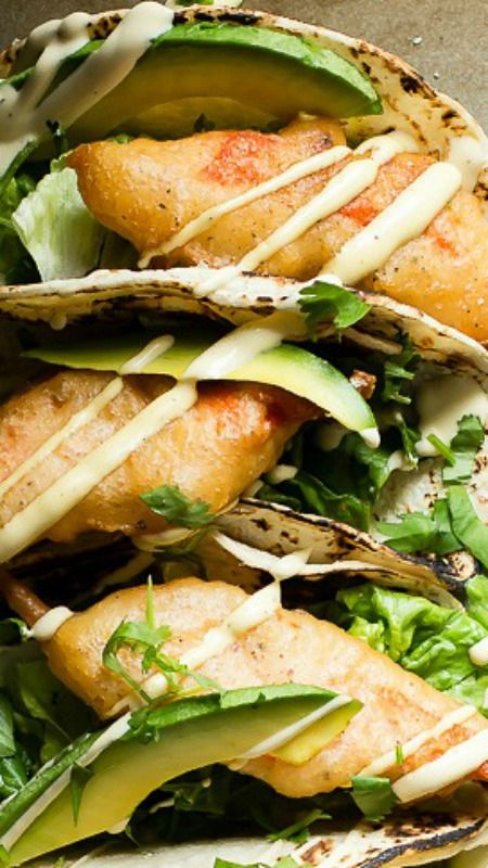 Crispy Salmon Fish Tacos ~ Crispy beer battered salmon tacos with ...