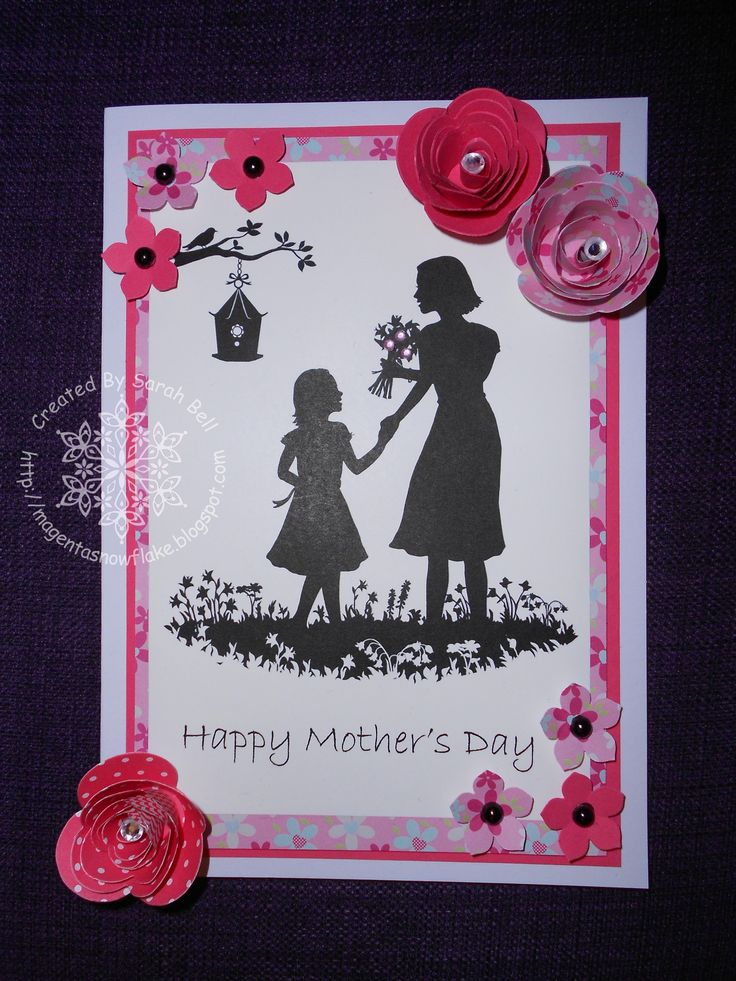 Silhouette Mother Daughter Digi-Stamp, card designed by Sarah Bell -  http://www.littleclaire.co.uk/product/digi-silhouette-mother-daughter.html