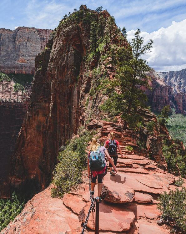 Ascending the peaks in Zion National Park – carefully. (Photo via Instagram: brianstowell)