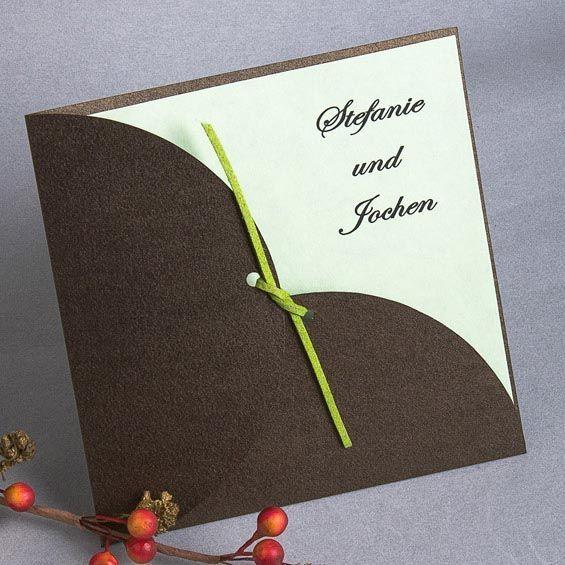 Braun Einladungskarten fuer Hochzeit mit Gelbgruen Band p OPA043 Farben Ideen f…