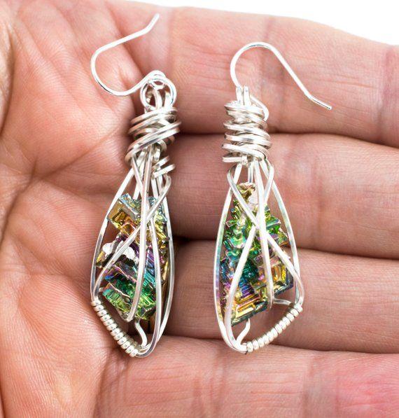 Bismuth Crystal Silver Pendant Earrings