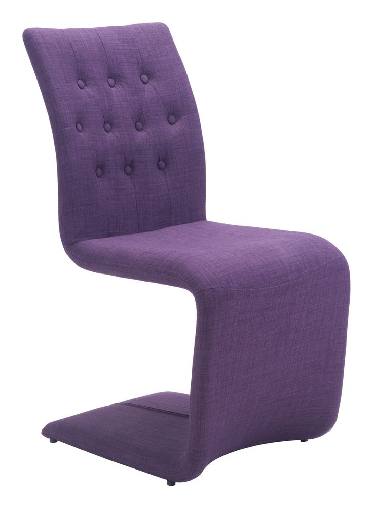 Hyper Dining Chair in Tufted Purple Fabric on Metal S Shape Frame (Set of 2)