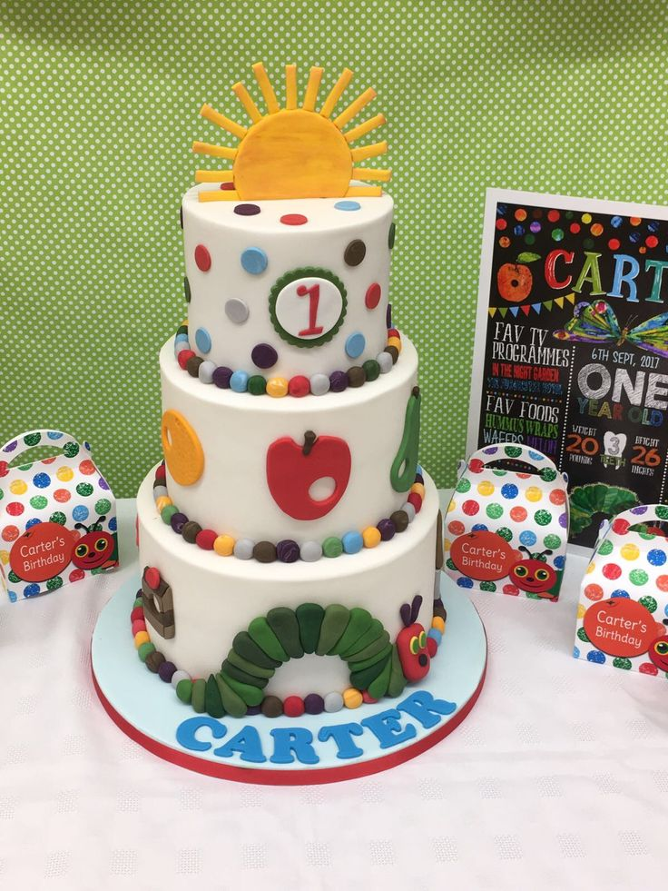 Hungry Caterpillar theme birthday cake 👍🏻
