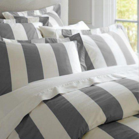 Charcoal Oxford Stripe Quilt Cover Set
