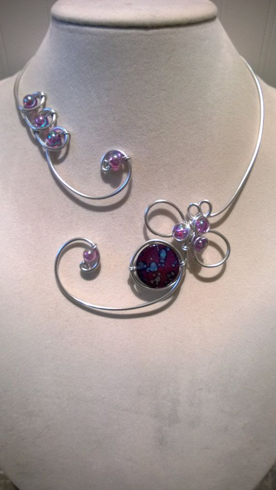 Bridesmaid necklace Purple wedding jewelry Open necklace