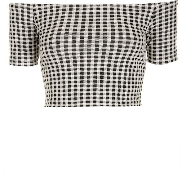 TOPSHOP Mono Gingham Bardot Top (31 BRL) ❤ liked on Polyvore featuring tops, shirts, crop tops, topshop, monochrome, white and black crop top, shirt crop top, gingham shirt, white and black shirt and black and white gingham shirt