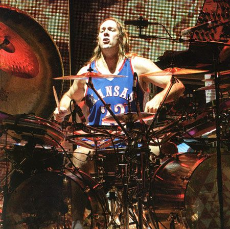 Danny Carey (Great shot) in his lucky KU jersey. Rock Chalk!