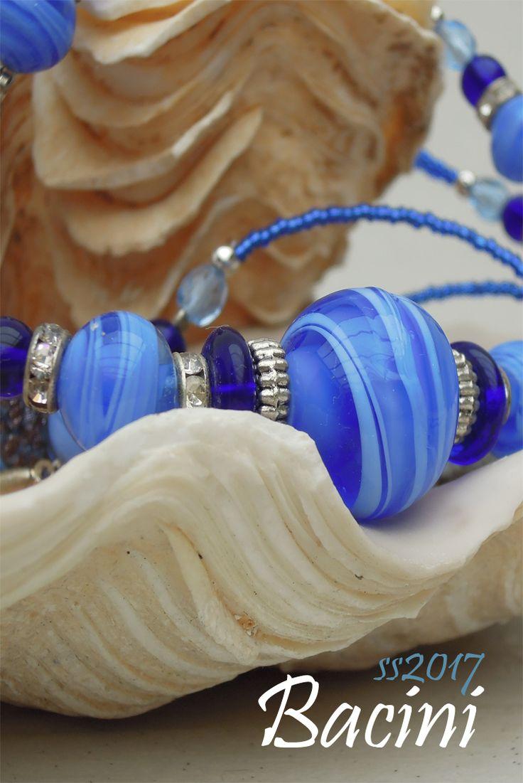 BACINI -  B like Beach - Niagara Blue Murano Glass Beads Necklace