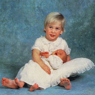 The two little princes William & his baby brother Harry on his christening day in 1984.