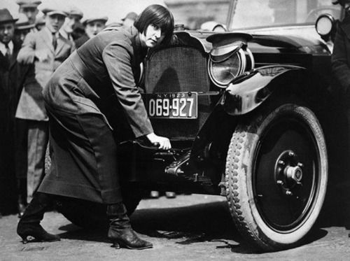 Miss Maude Odell, one of the first women taxi drivers in New York, 1923.