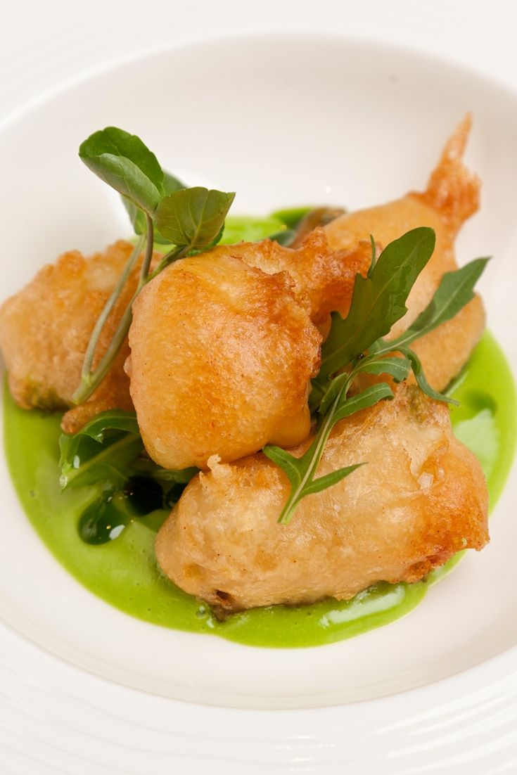 Monkfish scampi in beer batter with wild garlic mayonnaise - Pete Biggs uses bubbly lager in the batter for his monkfish scampi to create an extra light and crispy finish