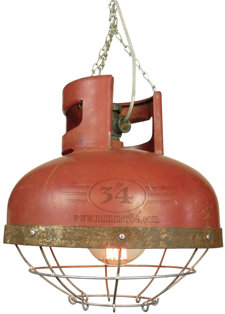 Industrial factory lamp with cage. Made from gas cylinder