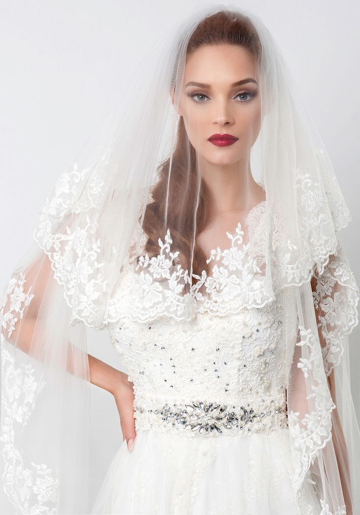 Astrid, long bridal veil with lace embroidery borders