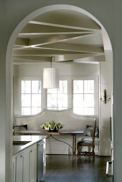 Amazing little breakfast nook: Dining Rooms, Idea, Kitchens Banquettes, Ceilings Details, Window Shades, Ceilings Design, Interiors Design, Bedrooms Decor, Window Seats