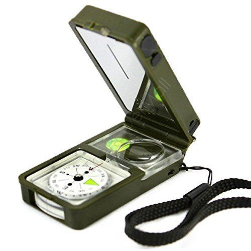Neon® Multi-functional Pocket Compass With Thermometer Hygrometer LED Lighting Reflector Magnifier Spirit Level Function for Outdoor Activities Hiking Camping Climbing Biking >>> Details can be found by clicking on the image.