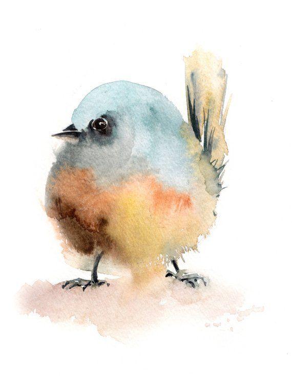 Ursprüngliche Aquarellmalerei des kleinen Vogels, moderne Malerei des minimalistischen Aquarells, Malerei des Vogels, unbedeutende Malerei, Vogelkunst