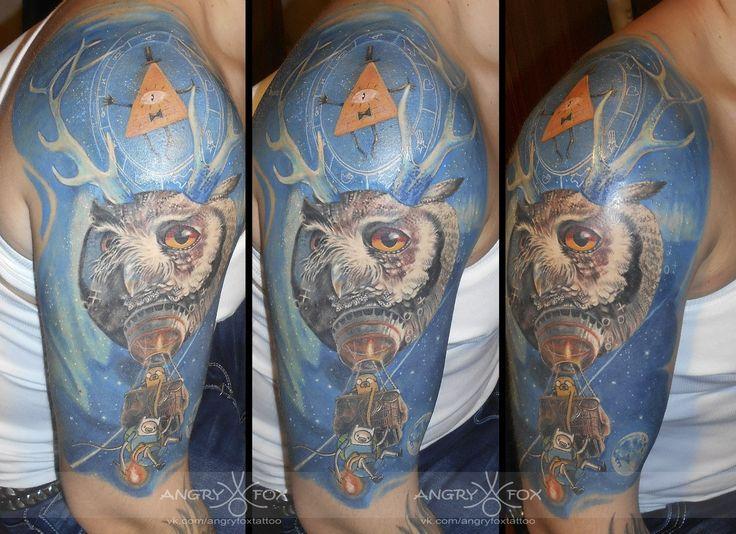 Тату работы Angry Fox. #angryfoxtattoo #tattoo #тату #сова #космос #adventuretime #времяприключений #ГрэвитиФоллс #GravityFalls #Билл #мятныйледенец #планеты #татуировка #татуировки #tattoos #tattooing #ink #colour #екатеринбург #татуекатеринбург #ekbtattoo