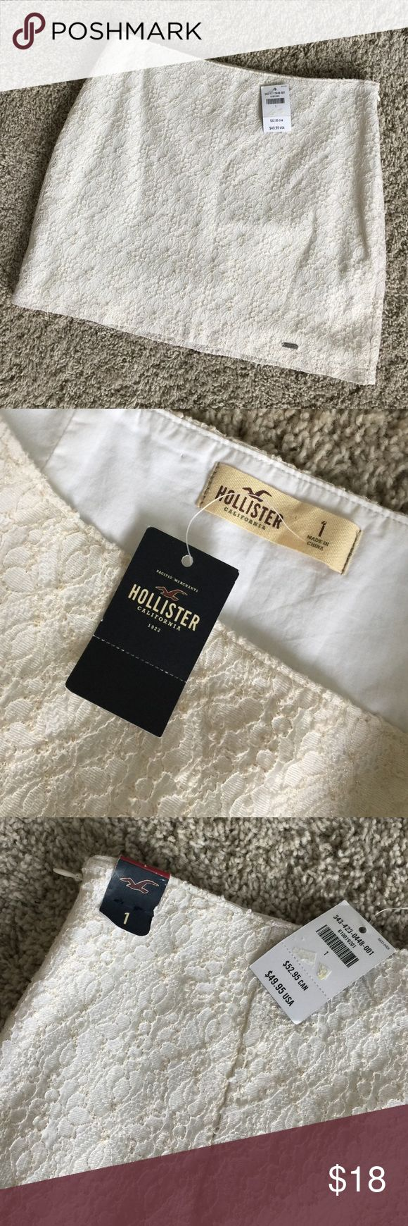 "New Hollister Gold/Off White Lace Mini Skirt Sz 1 Brand new with tags Hollister mini skirt. Off white and gold lace. Lined. Hidden side zipper. Approx. 13.75 across waist, lying flat; 14.25"" waist to bottom hem. Hollister Skirts Mini"