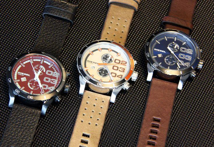 Diesel mens white dial leather analog Chronograph quartz watches DZ4310 #Diesel #Watches #menswear #Analog #Quartz #wristwatch