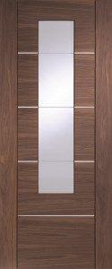 Portici Walnut Clear Glazed Internal Door #contemporarydoors